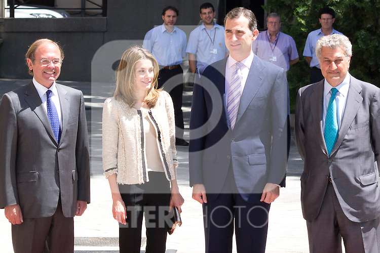 16.07.2012. Prince Felipe of Spain and Princess Letizia of Spain attends the Giving of the 8 th Edition of ´Luis Carandell´ Parliamentary Journalism in the Senate Building. In the image President of the Senate Pio Garcia Escudero , Princess Letizia, Prince Felipe and President of the Congress Jesus Posada Moreno  (Alterphotos/Marta Gonzalez)