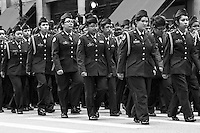 Chicago's Memorial Day Parade 2011. The event is held every year and moves down State street. It is composed of various dignitaries, military personel and school marching bands.