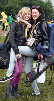 08/07/'10 Anna Nevin and Sarrah Harrison from Balbriggan pictured arriving at Punchestown, Co. Kildare this evening for the start of the Oxegen Festival 2010...Picture Colin Keegan, Collins, Dublin