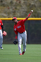 Boston Red Sox Yoan Aybar (32) during practice before a minor league Spring Training game against the Tampa Bay Rays on March 23, 2016 at Charlotte Sports Park in Port Charlotte, Florida.  (Mike Janes/Four Seam Images)