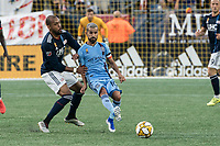 FOXBOROUGH, MA - SEPTEMBER 29: Maximiliano Moralez #10 of New York City FC passes the ball during a game between New York City FC and New England Revolution at Gillettes Stadium on September 29, 2019 in Foxborough, Massachusetts.