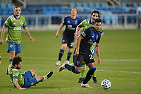 SAN JOSE, CA - OCTOBER 18: Andy Rios #25 of the San Jose Earthquakes during a game between Seattle Sounders FC and San Jose Earthquakes at Earthquakes Stadium on October 18, 2020 in San Jose, California.