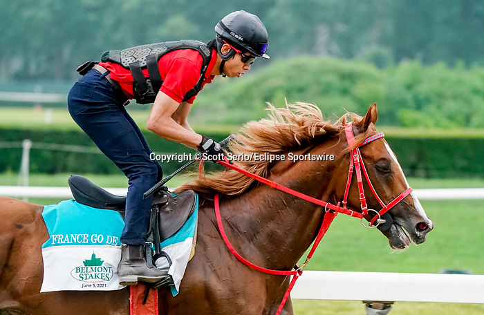 June 4, 2021: France Go de Ina exercises in preparation for the Belmont Stakes on Friday at the Belmont Stakes Festival at Belmont Park in Elmont, New York. Scott Serio/Eclipse Sportswire/CSM