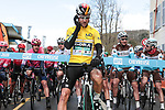 Race leader Yellow Jersey Maximilian Schachmann (GER) Bora-Hansgrohe lines up for the start of Stage 2 of the 78th edition of Paris-Nice 2020, running 166.5km form Chevreuse to Chalette-sur-Loing, France. 9th March 2020.<br /> Picture: ASO/Fabien Boukla | Cyclefile<br /> All photos usage must carry mandatory copyright credit (© Cyclefile | ASO/Fabien Boukla)