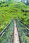 The swing bridge on the Lavena Coastal Walk in Taveuni, Fiji Islands