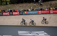 Mathieu van der Poel (NED/Alpecin Fenix), Florian Vermeersch (BEL/Lotto Soudal) and Sonny Colbrelli (ITA/Bahrain-Victorius) about to sprint for it in the Roubaix velodrome. <br /> <br /> 118th Paris-Roubaix 2021 (1.UWT)<br /> One day race from Compiègne to Roubaix (FRA) (257.7km)<br /> <br /> ©kramon
