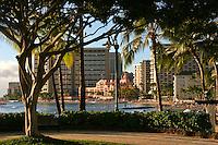 Waikiki Beach, including the pink Royal Hawaiian Hotel, Honolulu, O'ahu.