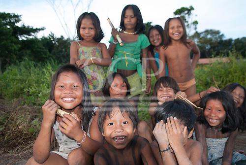 Aldeia Baú, Para State, Brazil. Group of children smiling at the camera.