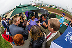 ARCADIA, CA - MARCH 10: Mick Ruis is interviewed by the media after winning the San Felipe Stakes at Santa Anita Park on March 10, 2018 in Arcadia, California. (Photo by Alex Evers/Eclipse Sportswire/Getty Images)