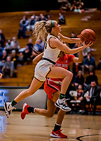 19 February 2020: University of Vermont Catamount Guard Emma Utterback, a Freshman from Greenwood, IN, goes for a layup in first-half action against the Stony Brook Seawolves at Patrick Gymnasium in Burlington, Vermont. The Lady Seawolves edged out the Lady Catamounts 72-68 in America East Women's Basketball. Mandatory Credit: Ed Wolfstein Photo *** RAW (NEF) Image File Available ***