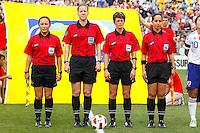 14 MAY 2011: Referees Veronica Perez, Margaret Domka, Kari Seitz, Marlene Duffy before the International Friendly soccer match between Japan WNT vs USA WNT at Crew Stadium in Columbus, Ohio.