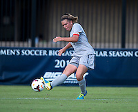 Kaitlin Brenn (4) of Georgetown crosses the ball into the box during the game at Shaw Field on the campus of Georgetown University in Washington, DC.  Georgetown tied DePaul, 1-1, in double overtime.