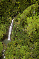 aerial Kauai waterfall Waimea Valley headwaters drain Alakai Swamp