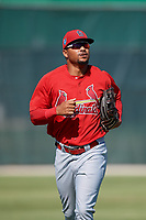 GCL Cardinals left fielder Angel Moreno (50) jogs back to the dugout during a game against the GCL Nationals on August 5, 2018 at Roger Dean Chevrolet Stadium in Jupiter, Florida.  GCL Cardinals defeated GCL Nationals 17-7.  (Mike Janes/Four Seam Images)