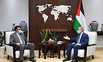 Palestinian Prime Minister Mohammed Ishtayeh meets with Jordan's Minister of Agriculture Khaled Al-Hanaifat, at his office in the West Bank city of Ramallah on September 1, 2021. Photo by Prime Minister Office