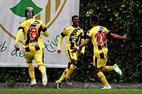 BOGOTA-COLOMBIA, 31-08-2019: Jugadores de Alianza Petrolera, celebran el gol anotado a La Equidad, durante partido entre La Equidad y Alianza Petrolera de la fecha 9 por la Liga Águila II 2019, jugado en el estadio Metropolitano de Techo en la ciudad de Bogotá. / Players of Alianza Petrolera, celebrates a scored goal to La Equidad, during a match between La Equidad and Alianza Petrolera, of the 9th date for the Liga Aguila II 2019 at the Metropolitano de Techo stadium in Bogota city. / Photo: VizzorImage  / Luis Ramírez / Staff.