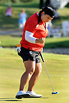 Christina Kim reacts after making a birdie putt on the 18th green during the final round of the LPGA Volvik Championship golf tournament at the Travis Pointe Country Club, Sunday, May 29, 2016 in Ann Arbor, Mich.  (AP Photo/Jose Juarez)