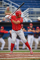 Williamsport Crosscutters right fielder Jhailyn Ortiz (18) at bat during a game against the Batavia Muckdogs on August 19, 2017 at Dwyer Stadium in Batavia, New York.  Batavia defeated Williamsport 11-1 in five innings due to rain.  (Mike Janes/Four Seam Images)