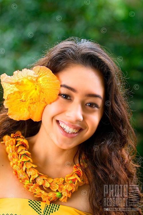 A lovely young Hawaiian hula dancer, O'ahu.