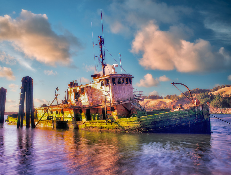 """Sunken ship """"the Mary D. Hume"""". Gold Beach, Oregon."""