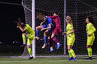 Lisa Petry (9) of KRC Genk and goalkeeper Nicky Evrard (1) of AA Gent pictured during a female soccer game between  Racing Genk Ladies and AA Gent Ladies ,  on the 6 th  matchday of the 2021-2022 season of the Belgian Scooore Womens Super League , friday 8 october 2021  in Genk , Belgium . PHOTO SPORTPIX | JILL DELSAUX
