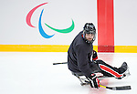 Sochi, RUSSIA - Mar 1 2014 -  Steve Arsenault of Team Canada hits the ice for the team's first practice before the 2014 Paralympics in Sochi, Russia.  (Photo: Matthew Murnaghan/Canadian Paralympic Committee)