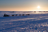 Ketil Reitan runs on the trail passing fish camps heading toward the finish at Nome during sunset on Wednesday March 14th during the 2018 Iditarod Sled Dog Race.  <br /> <br /> Photo by Jeff Schultz/SchultzPhoto.com  (C) 2018  ALL RIGHTS RESERVED
