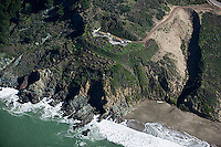 aerial photograph of Baker Beach with a bunker above, Presidio of San Francisco, California