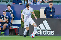 CARSON, CA - JUNE 19: Jorge Villafana #19 of the Los Angeles Galaxy moves along the sideline during a game between Seattle Sounders FC and Los Angeles Galaxy at Dignity Health Sports Park on June 19, 2021 in Carson, California.