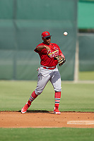 GCL Cardinals second baseman Pablo Gomez (22) throws to first base during a Gulf Coast League game against the GCL Astros on August 11, 2019 at Roger Dean Stadium Complex in Jupiter, Florida.  GCL Cardinals defeated the GCL Astros 2-1.  (Mike Janes/Four Seam Images)