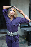 BROOKLYN - JULY 24, 2007:   Singer M.I.A. poses for a portrait in the backyard of a brownstone on Bergen Street on July 24, 2007 in Brooklyn.  (Photo by Michael Nagle)
