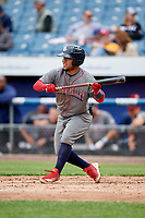 Lehigh Valley IronPigs second baseman Alexi Amarista (2) squares around to bunt during a game against the Syracuse Chiefs on May 20, 2018 at NBT Bank Stadium in Syracuse, New York.  Lehigh Valley defeated Syracuse 5-2.  (Mike Janes/Four Seam Images)