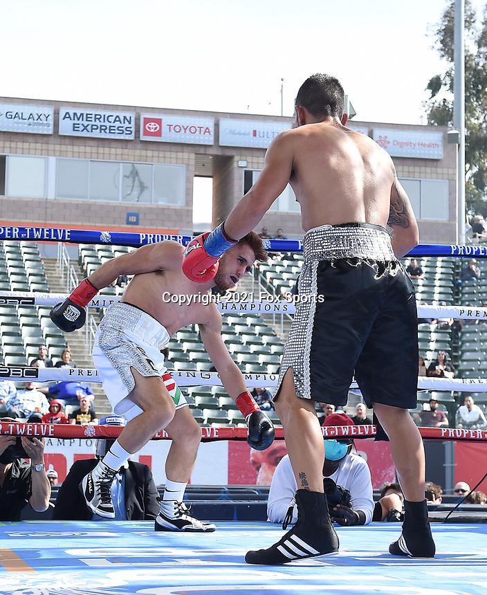 CARSON, CA - MAY 1: Eduardo Ramirez vs Isaac Avelar on the Fox Sports PBC fight night on May 1, 2021 at Dignity Health Sports Park in Carson, CA. (Photo by Frank Micelotta/Fox Sports/PictureGroup)