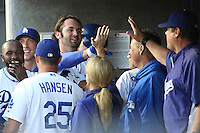 05/20/12 Los Angeles, CA: Los Angeles Dodgers outfielder Scott Van Slyke #33 during an MLB game between the St Louis Cardinals and the Los Angeles Dodgers played at Dodger Stadium. The Dodgers defeated the Cardinals 6-5.