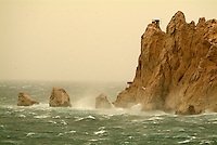 Waves crashing on the Pharillons and Maire Island on a stormy day, Marseille, France.