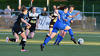 Justine Blave (22) of Eendracht Aalst and Emily Steijvers (33) of KRC Genk in action during a female soccer game between  Racing Genk Ladies and Eendracht Aalst on the 5 th matchday of play off 2 in the 2020 - 2021 season of Belgian Scooore Womens Super League , friday 7 th of May 2021  in Genk , Belgium . PHOTO SPORTPIX.BE | SPP | JILL DELSAUX