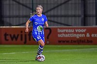 Gent's defender Lindsey Van Belle (14) pictured during a female soccer game between  AA Gent Ladies and Standard Femina de Liege on the 8 th matchday of the 2020 - 2021 season of Belgian Scooore Womens Super League , friday 20 th of November 2020  in Oostakker , Belgium . PHOTO SPORTPIX.BE | SPP | STIJN AUDOOREN