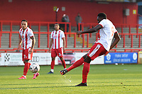 Inih Effiong of Stevenage FC free kick goes over during Stevenage vs Concord Rangers , Emirates FA Cup Football at the Lamex Stadium on 7th November 2020