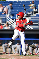 Batavia Muckdogs first baseman Carlos Duran (25) at bat during a game against the State College Spikes on June 22, 2014 at Dwyer Stadium in Batavia, New York.  State College defeated Batavia 10-3.  (Mike Janes/Four Seam Images)