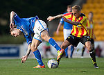 St Johnstone v Partick Thistle...28.09.13      SPFL<br /> Stevie May and Callum Higginbotham<br /> Picture by Graeme Hart.<br /> Copyright Perthshire Picture Agency<br /> Tel: 01738 623350  Mobile: 07990 594431