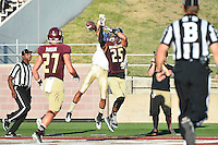 Texas State cornerback Craig Mager (25) breaks a pass intended for Idaho receiver during first half of an NCAA Football game, Saturday, October 04, 2014 in San Marcos, Tex. Texas State leads Idaho 21-3 at the halftime(Mo Khursheed/TFV Media via AP Images)