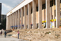The opera house with stairs in front. The Tirana Main Central Square, Skanderbeg Skanderburg Square. Tirana capital. Albania, Balkan, Europe.
