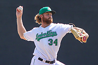 Clinton LumberKings pitcher Kyle Wilcox (34) delivers a pitch during a Midwest League game against the Lansing Lugnuts on July 15, 2018 at Ashford University Field in Clinton, Iowa. Clinton defeated Lansing 6-2. (Brad Krause/Four Seam Images)