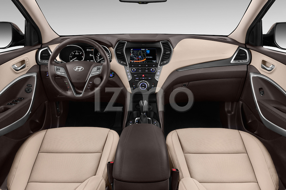 Stock photo of straight dashboard view of 2016 Hyundai Santa-Fe Executive 5 Door Suv Dashboard