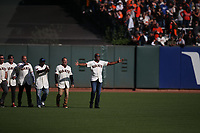 SAN FRANCISCO, CA - SEPTEMBER 29:  Barry Bonds and his former 2007 San Francisco Giants teammates walk onto the field during a ceremony celebrating the career of manager Bruce Bochy after the game between the Los Angeles Dodgers and the San Francisco Giants at Oracle Park on Sunday, September 29, 2019 in San Francisco, California. (Photo by Brad Mangin)
