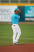 Lansing Lugnuts shortstop Otto Lopez (2) during a Midwest League game against the Beloit Snappers at Cooley Law School Stadium on May 4, 2019 in Lansing, Michigan. The Lugnuts wore their Copa de la Diversión jerseys, becoming the Lansing Locos for the evening. Beloit defeated Lansing 2-1. (Zachary Lucy/Four Seam Images)