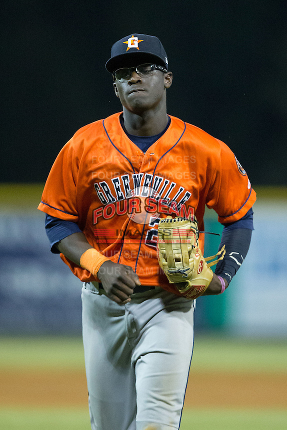 Greeneville Astros left fielder Daz Cameron (29) jogs off the field between innings of the game against the Burlington Royals at Burlington Athletic Park on August 29, 2015 in Burlington, North Carolina.  The Royals defeated the Astros 3-1. (Brian Westerholt/Four Seam Images)