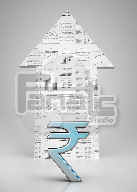 Conceptual shot of rupee symbol with arrow sign over colored background depicting investment in stock market