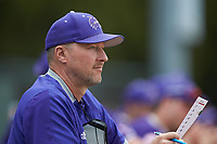 Western Carolina Catamounts head coach Bobby Moranda looks on from the dugout during the game against the St. John's Red Storm at Childress Field on March 12, 2021 in Cullowhee, North Carolina. (Brian Westerholt/Four Seam Images)