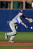 Indiana State Sycamores shortstop Tyler Friis (3) flips the ball to second for a force out during a game against the Vanderbilt Commodores on February 20, 2015 at Charlotte Sports Park in Port Charlotte, Florida.  Vanderbilt defeated Indiana State 3-2.  (Mike Janes/Four Seam Images)
